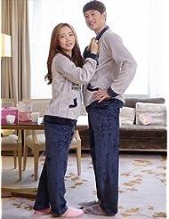 &zhou Parejas pijamas ocio chaqueta invierno gruesas pijamas Inicio ropa alrededor del cuello , woman , l