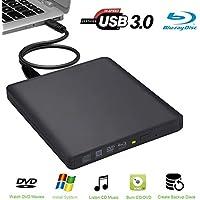 usb3.0Aluminio 6x Externa Unidad grabadora de BLU-Ray 3D BLU-Ray Grabadora Externa BD-RW CD-RW DVD-RW Escritor Quemador Drive para MacBook Air/iMac/Mac OS/PC Ordenador