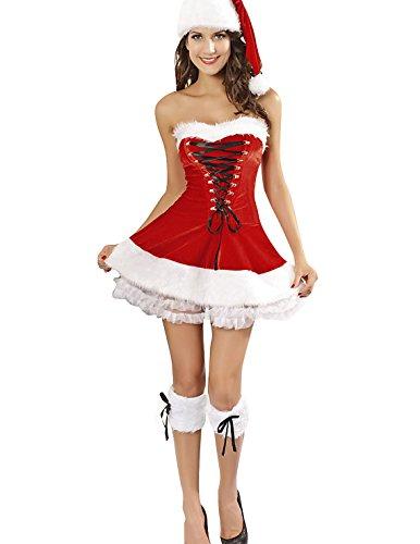 VENI MASEE Frauen sexy Geheimnis Santa Kostüm / Frau Fräulein christmas santa Kostüm Kostüm Outfit, Rot, ()