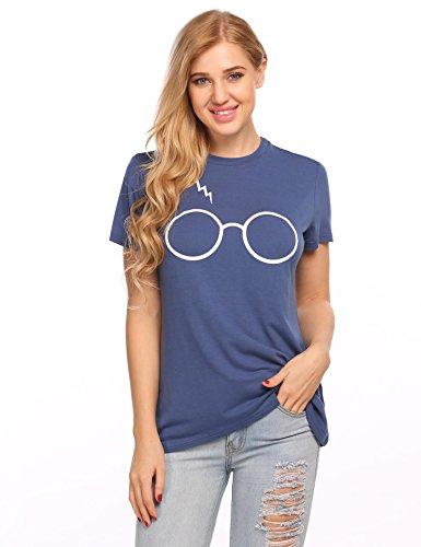 Meaneor Damen T-Shirt Mode Lässige Printshirt Kurzarm Rundhals Oberteil mit Brille Druck S-XL Navy Blau
