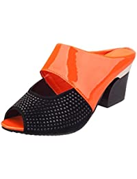 FNKDOR Damen Clogs Blockabsatz Flip Flop Zehentrenner Peep Toes Schuhe Sandalen(35,Blau)