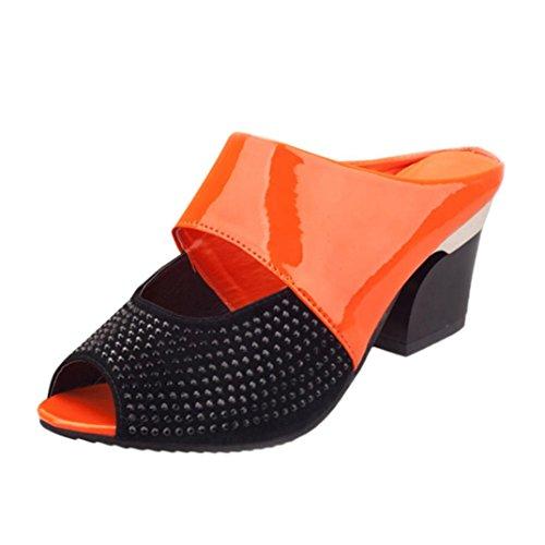FNKDOR Damen Clogs Blockabsatz Flip Flop Zehentrenner Peep Toes Schuhe Sandalen(39,Orange)