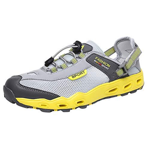 CUTUDE Herren Schuhe Neue rutschfeste und Verschleißfeste Wanderschuhe für Outdoor Athletisch Sneaker Gym Walking Jogging Laufen (Gelb, 46 EU)