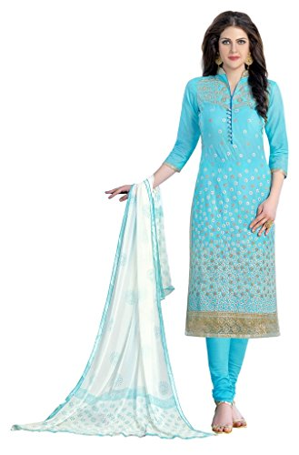 DnVeens Blue Cotton Embroidery Party Wear Unstiched Straight Salwar Suit Dress Materials...