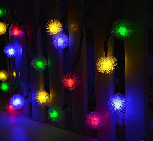 Dax-Hub solare Cordi Luci 8 Modi 30 LED palle 6M con Multi-colori Fancy Bulbles per Natale, Patio, Prato, Recinto, esterno, decorazione perfetta per la casa, esterna, Albero di natale, Centro commerciale, Festa & Festival del Celebrazione (30 buffer Palla - RGB)