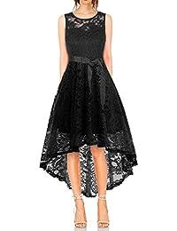 6bd65f0b1c3df MONYRAY Vestito Donna Elegante Cerimonia in Pizzo Floreale Abito da Sera  Corto Davanti Lungo Dietro