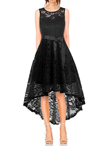 KT-SUPPLY Elegant Kleid aus Spitzen Damen Ärmellos Unregelmässig Cocktailkleider Party Ballkleid...
