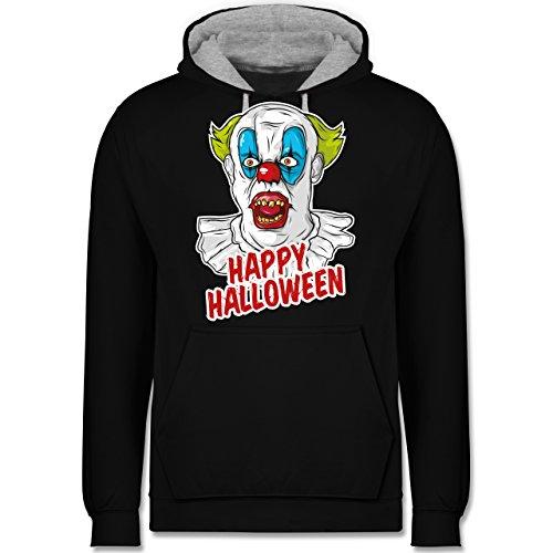 lloween - Clown - 4XL - Schwarz/Grau meliert - JH003 - Kontrast Hoodie (4x Kostüme Für Halloween)