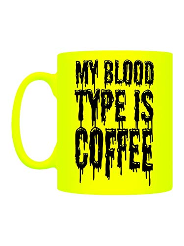 Grindstore Tasse Néon My Blood Type is Coffee Jaune