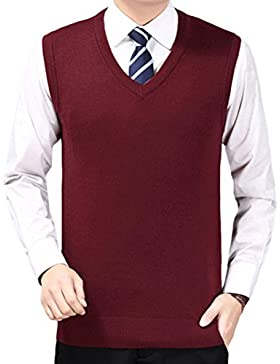 Zhhlaixing De los hombres Mens Men Classic Style Soft V-neck Pullover Knitted Knitwear Jumper Vest Waistcoat Gilet...