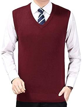 Zhhlinyuan alta calidad Mens Men's Britsh Style Business Spring Soft Sleeveless V-neck Pullover Knitted Jumper...
