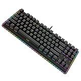 durgod RGB Gaming Mechanical Tastatur (87Schlüssel LED Beleuchteter Fließende Leichte Edge Mechanische Gamer Tastatur Cherry MX Braun Schalter (Schwarz)