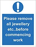 Etichetta - Sicurezza - Avvertenza - Hygiene catering Please remove all jewellery etc before commencing work safety sign - 200mm x 150mm - ufficio, azienda, scuola, hotel