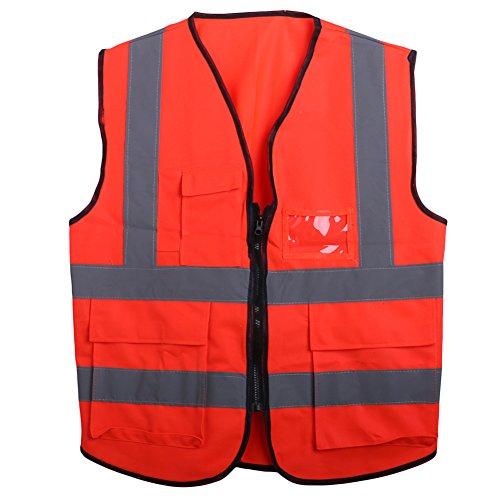Sqiuxia Sicherheitsweste mit 5 Taschen vorne, hohe Sichtbarkeit, Sicherheitsweste mit Reflektorstreifen, Arbeitskleidung, Radweste mit ANSI/ISEA-Standards, 6 Farben optional, Orange