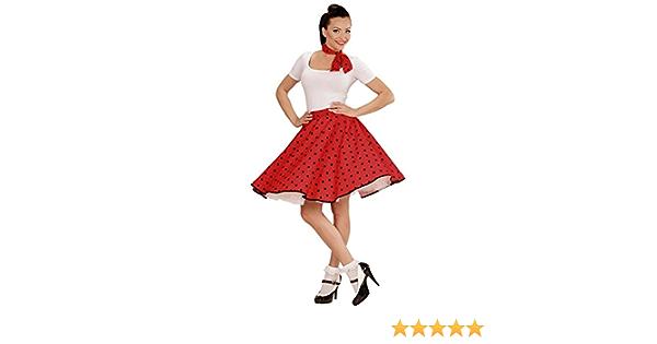 50er-Jahre Rockabilly Petticoat-Rock mit Halstuch rot-weiss Cod.235941