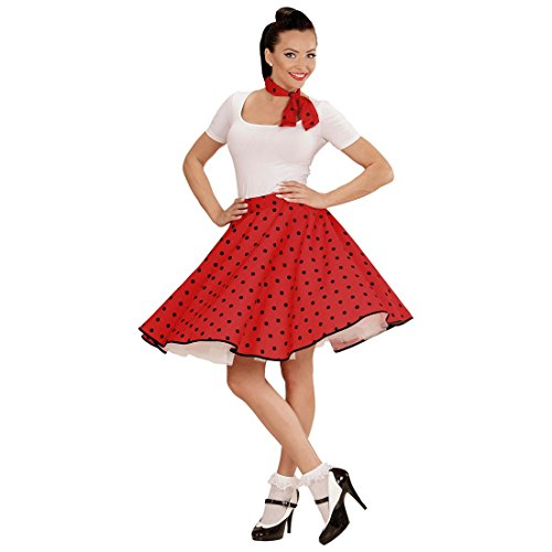 60er Jahre Petticoat rot Rockabilly Rock mit Halstuch Polkarock und Schal Rock n Roll Damenrock Fifties Kostüm Polka Dots 50er Jahre Mode Polkadots