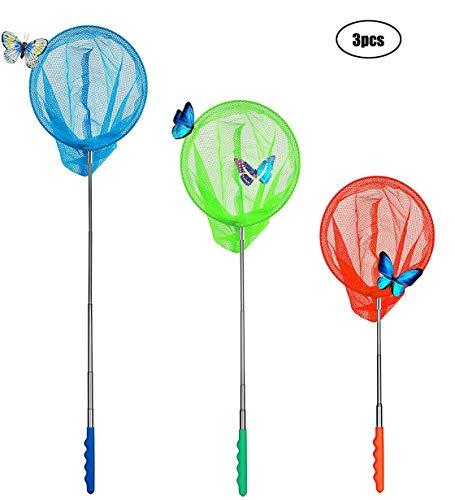 Yeelan Teleskop Schmetterlingsnetze Erweiterbar Fischernetz Outdoor Garten Spielzeug Reise Aktivitäten für Kinder Kleinkind Spielen 3 stücke(Blau + Orange + Grün)