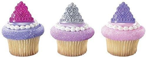 A1 Bakery Supplies Prinzessin Krone Tiara Royal Birthday Party Cupcake Ringe 24-Pack blau