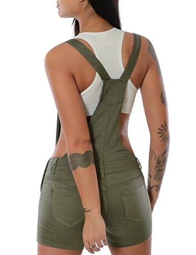 Damen Latz-Jeans Latz-Shorts Latz-Hose Hot-Pants Jumpsuit Overall (weitere Farben) No 15525 Khaki