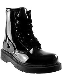 Angkorly - Chaussure Mode Bottine Rangers Motard Chic Femme Verni Talon Bloc  3 CM - Intérieur 76b03055f225