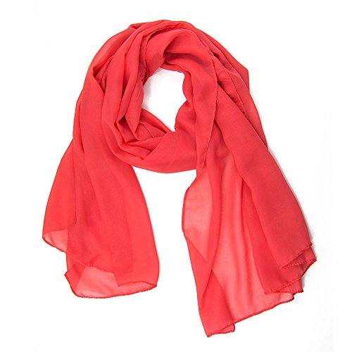 ManuMar Schal für Damen | feines Hals-Tuch in coral Unisex-Farben Uni-farben als perfektes Sommer-Accessoire | Das ideale Geschenk für Frauen (Schals Hals Rosa)