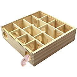 Starmood Laberinto de Madera Juguete 13 Rejillas Hamster Túnel Casa de Laberinto para Mascotas pequeñas