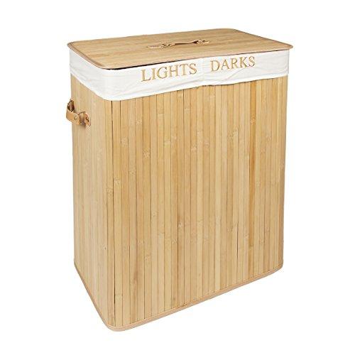 Ropa de bambú Woodluv pasos plegable Rectangular de la cesta de la colada con 2 compartimentos 100L - Luces y algo de arte