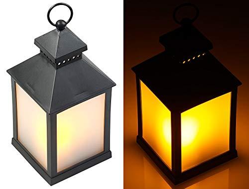 Lunartec Lampen: LED-Laterne mit realistischem Flammenspiel und Timer, schwarz (Dekolaterne)