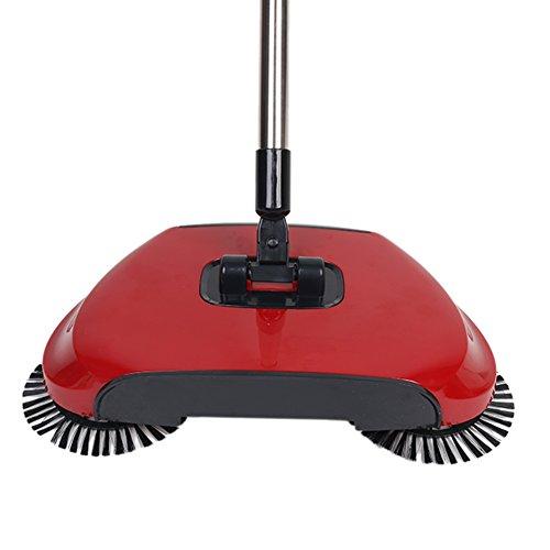 candora® Automatisch Hand Push Sweeper Besen Haushalt Reinigung ohne Strom rot (Sweeper-schlauch)