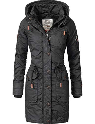 khujo Damen Wintermantel Baumwollparka YM-Mell Black018 Gr. S