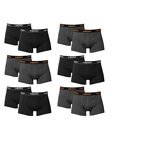 HEAD Herren Boxershorts 841001001 12er Pack, Wäschegröße:XL;Artikel:6x Black / 6x Dark Shadow