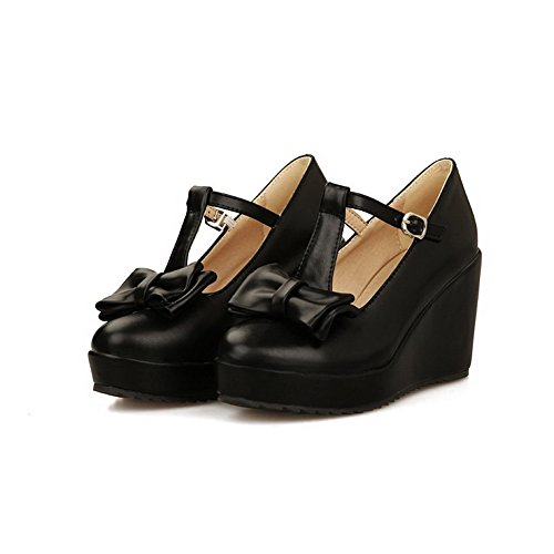 VogueZone009 Femme Pu Cuir à Talon Haut Rond Couleur Unie Boucle Chaussures Légeres Noir