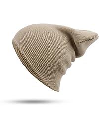 ZXGJMZ Sombrero Mujer Unisex Mezclas de algodón Sólido Cálido Suave  Sombreros de Punto Hombres Gorros de Invierno Skullies de Mujer… a9247817d83