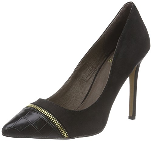 La Strada Schwarze Kroko-suède-look Pumps, Escarpins femme Noir (2201 - Micro Black)