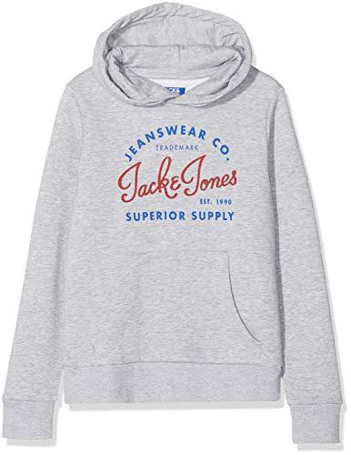 Jack & Jones Junior Jungen JJELOGO Sweat Hood 2 COL NOOS JR Kapuzenpullover, Grau Light Grey Melange, (Herstellergröße: 152)