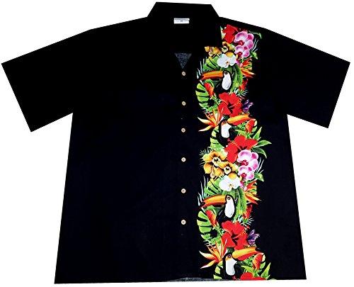 "Hawaiihemd/Hawaii Hemd \""Tropical Birds\"" / 100{e44bec8dcbae170236f2b9626ff32000e65a3f10a8d9e19bb6626d66b2d9bce9} Baumwolle/Größe S - 6XL / schwarz/Blüten / Vögel/Tukan"