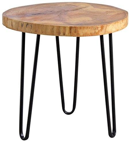 Table ronde en bois et métal noir