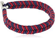 Tommy Hilfiger Men's, Navy & Red Wax Cord with Stainless Steel lock, Braided Bracelet -
