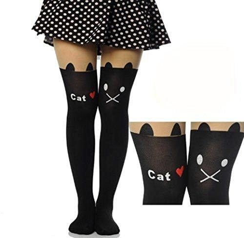 VISKEY Fashion Tattoo Tights Stockings Over Knee Printed Socks Lady Pantyhose