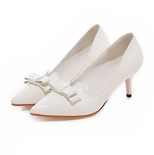 AgooLar Femme Pointu Tire Pu Cuir Couleur Unie à Talon Correct Chaussures Légeres Blanc