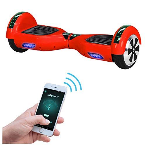 Robway W1 Hoverboard - Das Original - Samsung Marken Akku - Self Balance - 22 Farben - Bluetooth - 2 x 350 Watt Motoren - App - Led (Rot)