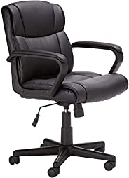 Mahmayi Computer Office Chair Padded Cushion Mid Back Executive Desk Chair with Arms PU Leather 360 Swivel Tas