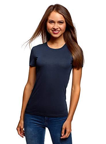 oodji Collection Damen Gerade Geschnittenes T-Shirt mit Rundem Ausschnitt, Blau, DE 44 / EU 46 / XXL - Günstige Teenager T-shirts