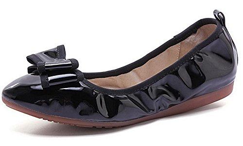 VogueZone009 Femme Pu Cuir Non Talon Rond Couleur Unie Tire Chaussures à Plat Noir