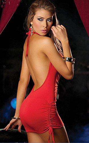 Ostenx Cocktail Femmes Bandage moulante sans manches col en V Sexy Party Mini-robe Sexy Nuisette Babydoll Lingerie Sexy Femme Robe Chambre de Nuit Dos Nu Jupe Mini Soirée Party Blanc+Rouge