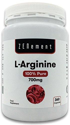 L Arginina 100% Puro 700 mg 360 Capsule Vasodilatatore promuove la prestazione atletica e lo sviluppo muscolare Vegan non OGM Senza Additivi Senza