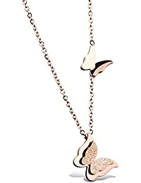 Yellow Chimes Rose Gold Stainless Steel Dual Butterfly Charm Pendant for Women (Rose Gold)(YCFJPD-283BTRF-RG)