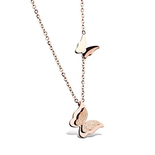 Yellow Chimes Rose Gold Stainless Steel Dual Butterfly Charm Pendant for Women...