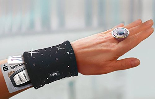 Handgelenktasche schwarz Pailletten schwarz Armtasche Geldversteck Reißverschluss Geldbörse Salsakleider Etuikleider Abendkleider lang kurz Samba Kostüm Faschingskostüme Geschenke Geschenkidee Frauen