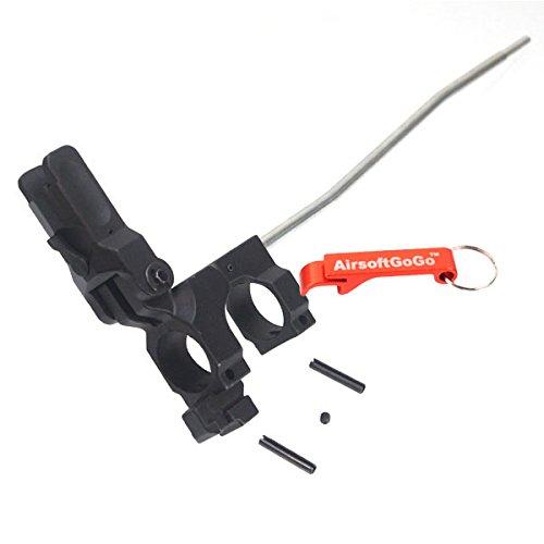 E&C URX Typ Flip-Up Front Sight mit Gaz Tube für Softair M4 serie AEG - Schlüsselanhänger Inklusive (Ar Flipup Sights)